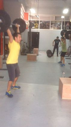 Overhead Squats and Burpees over Bar. Morning class crossfit !