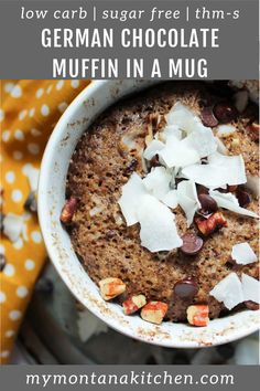 This Easy Low Carb Muffin Is A Remake Of The Famous German Chocolate Cake. A Filling Keto Dessert Recipe, This Is Also Great For Breakfast Chocolate, Coconut, Pecans, And Even Caramel Keto Friendly Desserts, Low Carb Desserts, Low Carb Recipes, Dessert Recipes, Healthy Desserts, Lunch Recipes, Cake Recipes, Chocolate Muffins, Chocolate Recipes