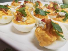 Last day at my hotel. Staff asked for deviled eggs. So I made them buffalo chicken deviled eggs.