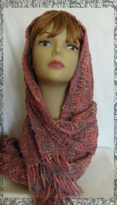 Hues of Vermilion Textured Hand Loomed Scarf by OrphanLoomer, $25.00