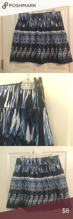 Blue and White Patterned Skirt Blue and white patterned skirt with side zipper. Size 9. In good condition. Pretty! A.BYER Skirts