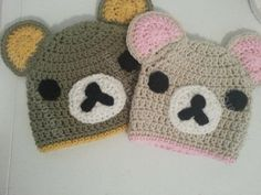 Free Crochet Character Hat Patterns | Rilakkuma and Korilakkuma Character Beanie Hats Crochet Pattern (27)