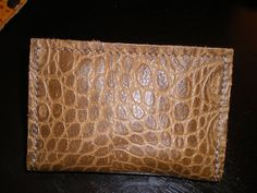 Gator imprinted dark Tan leather wallet , fold wallet , credit card  holder ,men wallet for him . by malycreations on Etsy