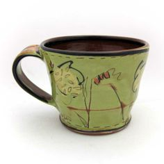 Victoria Christen, Mug #3, cone 04 earthenware, thrown, cone 04 food safe transparent glaze at Eutectic Gallery.
