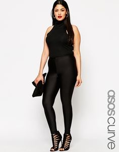 ASOS CURVE Legging With High Waist In Shimmer Disco