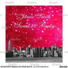 Etched NYC Skyline Hot Pink Red Heart Sweet 16
