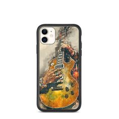 Slash's, biodegradable, iphone case, iphone xr case, iphone 7 case, iphone 8 case, iphone x case, iphone xs case, iphone 11 case Guitar Gifts, Music Gifts, Guitar Painting, Guitar Art, Iphone 8 Cases, Iphone 11, Music Wall Art, Cool Artwork, Biodegradable Products