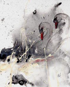 abstrakte malerei Schwäne figurativ