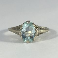 Vintage Aquamarine Ring with 14k White Gold by ScotchStreetVintage