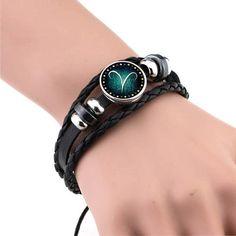 12 Zodiac Signs Bracelet | 12 Constellation Mens Bracelets beaded Handmade | Charm Leather Bracelet
