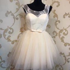 Sukienka tiulowa z koronką ecru - dSz-Fashion - Sukienki