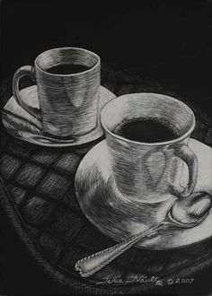 Image detail for -Scratchboard Art: Cross-hatching | The Scratch Board When I was a student I had to draw endless cups and saucers using all manner of techniques. This is