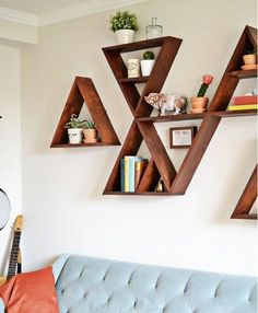 Triangle Wood Shelf by pieceofshards on Etsy