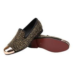 55e10670ace09 Details about Men RESSO+ROTH Black Velvet Slippers Slip-on Loafers Shoes  Gold Cap Gold Studs