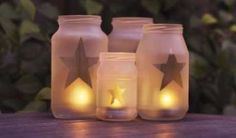 Etched Mason/pasta sauce jars as candleholders
