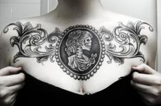 Cameo skull chestpiece tattoo - to hardcore for me but I think I know what will be on my hand :)