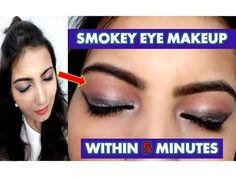 Step-By-Step Smokey Eye Makeup Look within 5 Minutes//Smokey Eyes मेकअप करें सिर्फ 5 मिनट में// Wedding Guest Makeup Looks, Party Makeup Looks, I Love Makeup, Black Smokey Eye Makeup, Eye Makeup Cut Crease, Prom Eye Makeup, Glitter Eye Makeup, Smokey Eyeshadow Tutorial, Bridal Facial