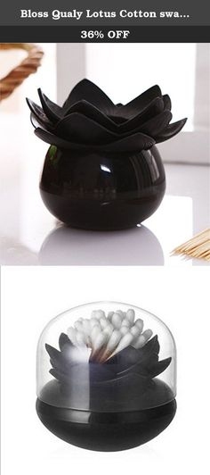 Bloss Qualy Lotus Cotton Swabs Bud Holder Qtips Container Flower Green Bathroom Decor Black