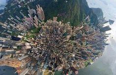 Amazing aerial view of Hong Kong Island