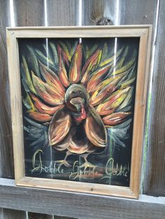 Gobble Gobble Turkey Thanksgiving outdoor sign by RebecaFlottArts