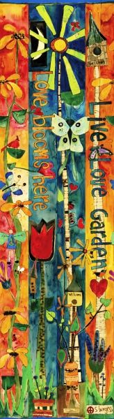 """Live, Love, Garden"" Art Pole 
