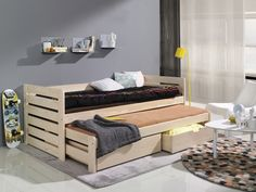 Rozkládací postel Tomáš s úložným prostorem | Relaxin.cz Ron, Double Beds, Kid Beds, Home Decor Furniture, Toddler Bed, The Originals, Storage, Canapes, Place