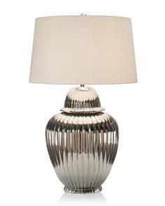 """Limited Production Design & Stock: 41"""" Tall Grand Scale Fluted Temple Jar Table Lamp * Nickel Plated"""