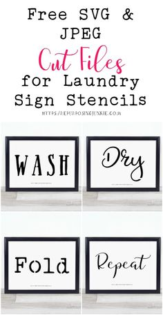 Free JPEG and SVG Cut Files that are Perfect for Making Laundry Room Stencils