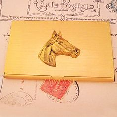 Horse BUSINESS CARD CASE Vintage Style Horse Gift by cloudk9, $29.95