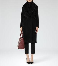 Franchesca Black Faux-Fur Detail Coat - REISS