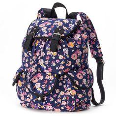 Candie's Madison Floral Backpack (Blue) ($19) ❤ liked on Polyvore featuring bags, backpacks, blue, floral print backpack, knapsack bags, handle bag, drawstring backpack and blue bag