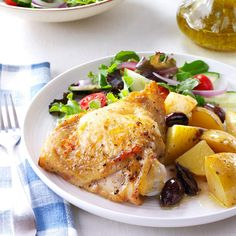 Greek-Style Lemon-Garlic Chicken Recipe -I love celebrating my Greek heritage with this super simple and scrumptious Sunday dinner. Prep time is a breeze and the ingredient list is relatively short for such a flavorful one-dish meal. Each time I make this I'm transported back to my ya-ya, who gave me the special honor of squeezing the lemons! —Lisa Renshaw, Kansas City, Missouri