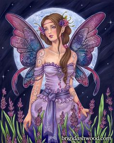 Lavender Moon Fairy  Color  Art Print  Brigid by brigidashwood, $15.00