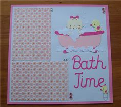 Baby in bath cut at 4.5 inches & little ducky pin is 1.75 inches, both from Baby Steps. Extra bubbles were cut from Everyday Paper Dolls and...
