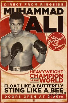 """Muhammad Ali """"Direct from Ringside"""" Boxing Poster - Pyramid 2011 Muhammad Ali, Boxing Posters, Empire, Posters Vintage, Vintage Prints, Sting Like A Bee, Champions Of The World, Float Like A Butterfly, Posters"""