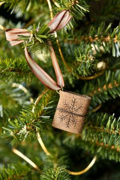 SALE 20% OFF - Mini Leather Journal Christmas Ornament - Mini Book Holiday Decor