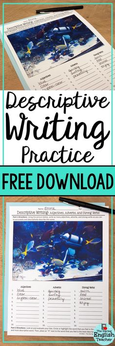 "Descriptive Writing Freebie: Grades "" Help your middle school English language arts students write more descriptively with this free activity. Descriptive Writing Activities, Essay Writing Help, Writing Lessons, Writing Practice, Teaching Writing, Writing Ideas, Creative Writing, Teaching Ideas, Writing Prompts"