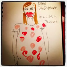 #drewbarrymore #goldenglobes #illustration All lips + flowers