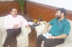 Union Minister Dr Jitendra Singh receiving a brief about All India Radio's expansion plans in J&K from Director General Prasar Bharati Fayyaz Sheheryar at New Delhi on Tuesday.