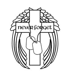 Never Forget Military Decal Cross Angel Wings Dog Tags decal Custom Vinyl Computer Laptop Car auto vehicle window decal custom sticker Decal Dog Tags Military, Military Love, Custom Vinyl, Custom Stickers, Dog Tags Tattoo, Instagram Decal, Military Drawings, Stained Glass Patterns, Mosaic Patterns