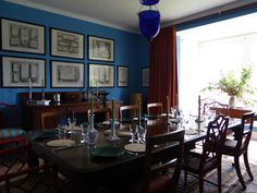 We returned home for a dreamy, delicious dinner of salads and roast lamb cooked by Charlie in the new sky-blue dining room - St. Giles's Blue, by Farrow & Ball (if you were wondering).