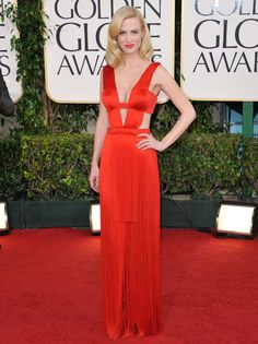 January Jones Red Sexy Discount Formal Dress at 2011 Golden Globe Awards Red Carpet Discount Formal Dresses, Sexy Formal Dresses, Nice Dresses, January Jones, Star Wars, Red Carpet Looks, Looks Style, Hollywood Glamour, Simply Beautiful