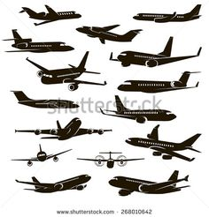 15 vector icons of black airplane over white background