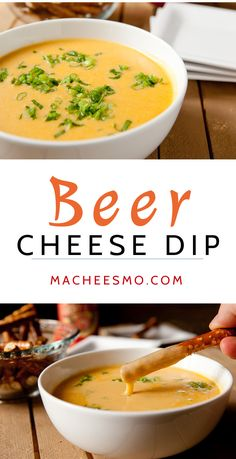 Queso dip made with beer! The perfect game day appetizer with crunchy pretzels.