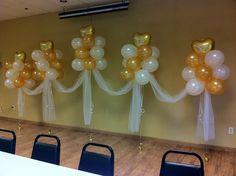 Letters - JULIA - instead of hearts Wedding Balloons behind a head table Wedding Balloon Decorations, Balloon Centerpieces, Wedding Balloons, Birthday Balloons, Birthday Party Decorations, Balloon Ceiling, Balloon Arch, Hanging Balloons, 75th Birthday Parties