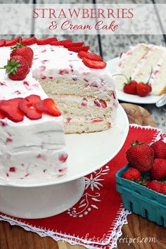 I know it's not quite strawberry season, but this cake is sooooo good, I couldn't wait to share. Plus, it would be perfect for Valentines day. If you love strawberry shortcake, well.....this is eve...