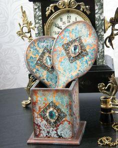 Купить Будуарный набор Mon plaisir расческа зеркальце подставка. Декупаж - мятный, коричневый, вензель