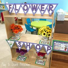 Spruce up the basic home living dramatic play center by adding silk flowers and these adorable order forms. Children love working in their own flower shop! Dramatic Play Themes, Dramatic Play Area, Dramatic Play Centers, Prop Box, Spring Activities, Colour Activities, Play Centre, Spring Theme, Art Lessons Elementary