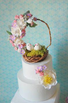 cake topper,woodland,bird,white cake wedding, $65 , # http://www.etsy.com/listing/63217071/cake-topper-woodland-nest-for-a-garden