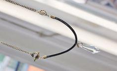 Vintage modern necklace in leather antique by Lisbethstafnedesigns
